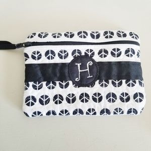 "Handbags - Letter ""H"" Initial Peace Sign Zippered Pouch"